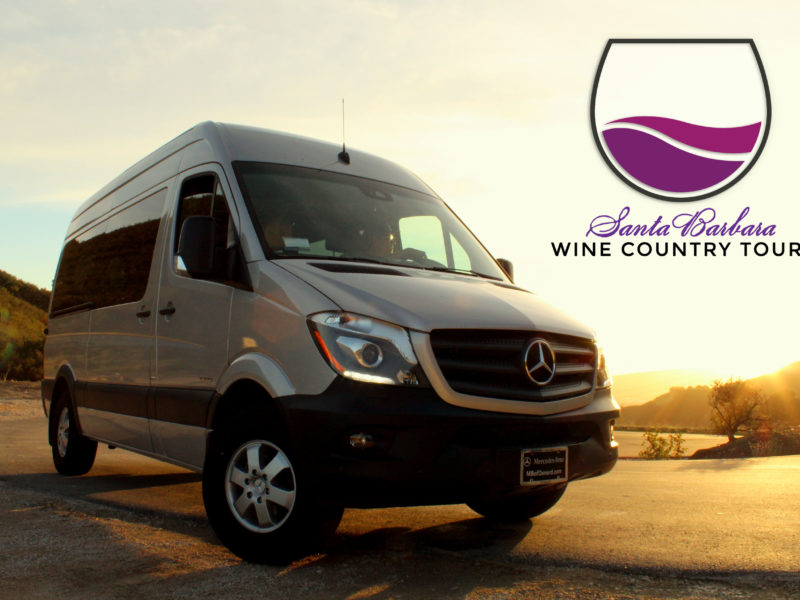 Santa barbara wine country tours logo with mercedes van