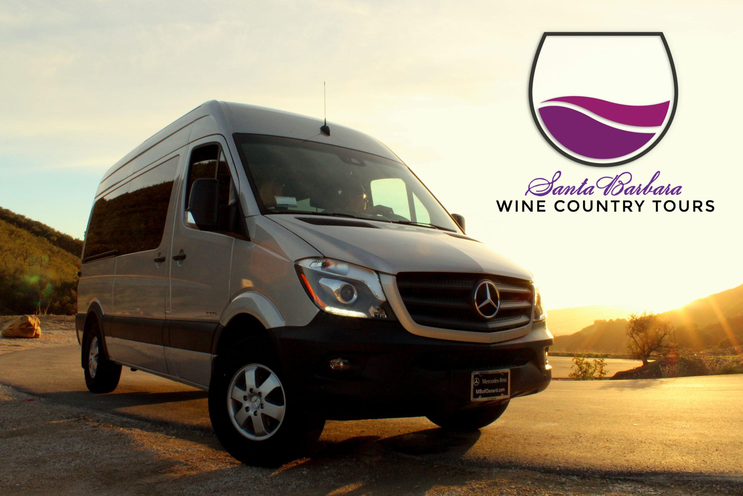Santa barbara wine country tours logo with mercedes van